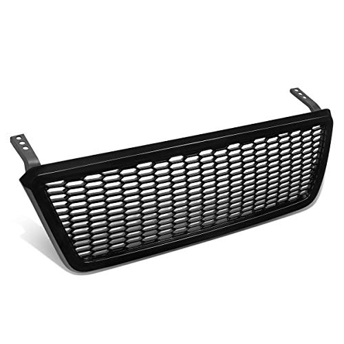 Glossy Black Badgeles Honeycomb Mesh Front Hood Bumper Grille Grill Replacement for Ford F150 04-08