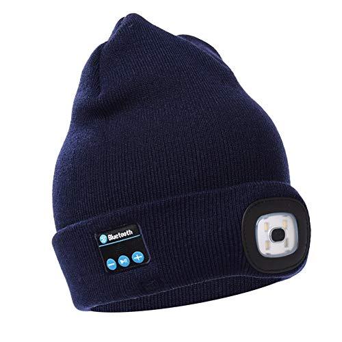 Harddo gebreide muts met LED-licht Bluetooth, verlichting LED-hoed voor mannen vrouwen outdoor wandelen navy
