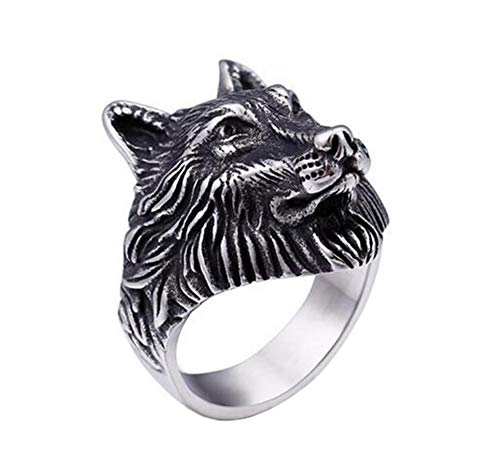 PAMTIER Men's Stainless Steel Vintage Biker Wolf Head Ring Silver Size S