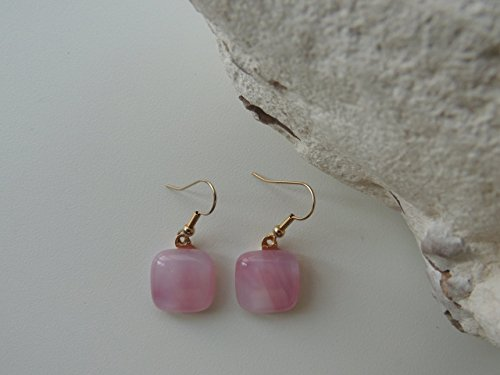 0.68' square pink fused glass earrings pink drop earrings jewelry set by home for glass lovers