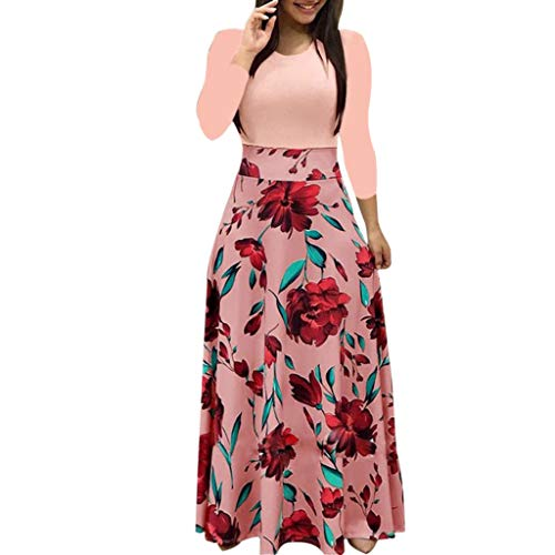 Damen 50er Elegant Vintage Retro Kleider Rundhals Stil Cocktailkleider Abendkleid Kleider Langarm Minikleid Weihnachtskleid Party Karneval Kostüme Dress Kleid Winterkleid (Rosa, XL)