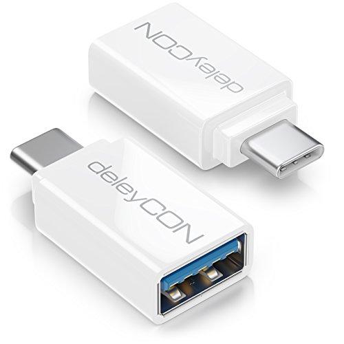 deleyCON USB C OTG Adapter - USB zu USB C - Für Handy Smartphone Tablet Laptop Chromebook Netbook - 2 Stück - Weiß