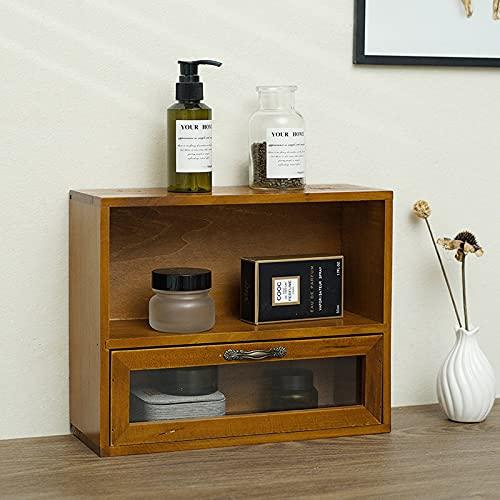 ABCSS Joyero,de Madera,Caja de Almacenamiento de Escritorio de Oficina Tipo cajón,Vintage Envejecido,joyero cosmético de Madera,con Vidrio de Alta definición