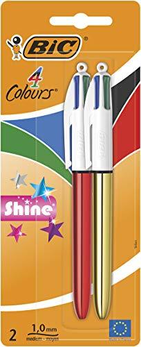 BIC - Bolígrafos de punta media (1 mm, 2 unidades), colores surtidos