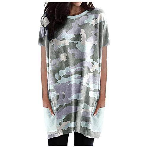 XOXSION Camiseta de verano para mujer, con cuello redondo, manga corta, camisa larga, camisa de manga corta, camisa con bolsillos B azul XXL