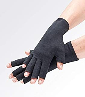 Compression Gloves for Arthritis Pain Relief. Comfy Black Fingerless Gloves for Women or Men. Joint Support for Rheumatoid and Osteoarthritis, Raynauds, Lymphedema, Dupuytrens. Daily use eg Typing -M