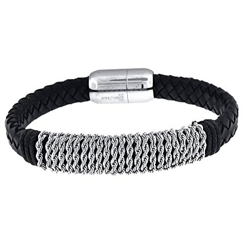 Acero inoxidable para hombre cuero negro con cierres magnéticos pulsera joyería regalos para hombres