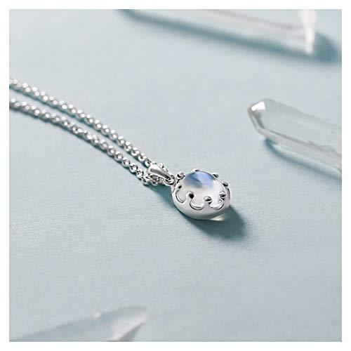zlw-shop Collar de Mujer Moonstone Crown Crown Sterling Silver Collar Female Clavícula Cadena Colgante Niche Diseño Accesorios Cumpleaños Regalo Tide Collares Pendientes