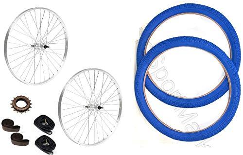 CICLOSPORTMARKET // COPPIA RUOTE BICI 20' x 1.75 + PIGNONE Z16 + COPERTONI BLU + CAMERE + FLAP per bicicletta GRAZIELLA / BMX / BAMBINO misura 20' - CONSEGNA 24-48 ORE