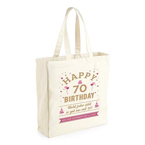Design, Invent, Print! Damen Shopper-Tasche zum 70. Geburtstag - aus Baumwoll-Canvas - ideale Geschenkidee - Naturfarben - 42 x 39 x 13 cm
