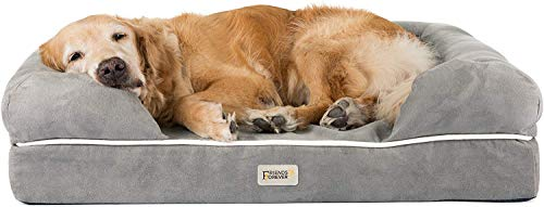 SCM Orthopädisches Hundebett Tierbett Memory Foam Hundesofa Dog Bed Premium Prestige Edition Hundekorb gelenkschonend grau, weich (91 x 71 cm)
