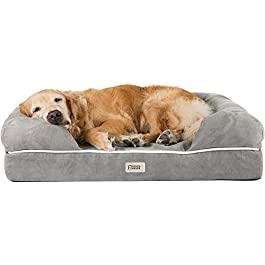 Orthopedic Dog Bed Lounge Sofa – 100% Suede Removable Cover – 10cm Mattress Memory Foam Premium Prestige Edition – Ultimate Dog Bed for Large Dogs