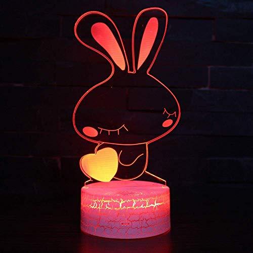 Cute Rabbit 3D Illusion Lamp 3D Night Light para niños niñas Lámpara de escritorio de mesa 16 Cambio de color Lámpara de decoración Regalos Festival de cumpleaños Navidad para adolescentes Amigos