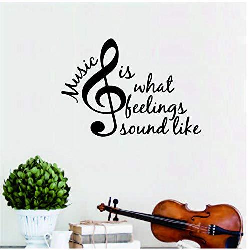 Annqing Muziek, wat gevoelens, lemmeten zoals Band Piano viool gitaar zingen hobby grote muurtattoo kunst vinyl citaat sticker decoratie