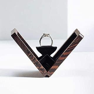 Woodsbury Thin Ring Box Proposal Box Wenge Timber Box Rotating Ring Box (Custom Engraving)