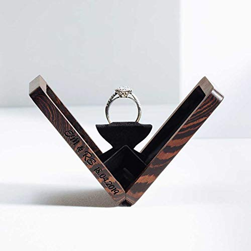 Woodsbury Thin Ring Box Proposal Box Wenge Timber Box Rotating Ring Box (Custom Engraving)