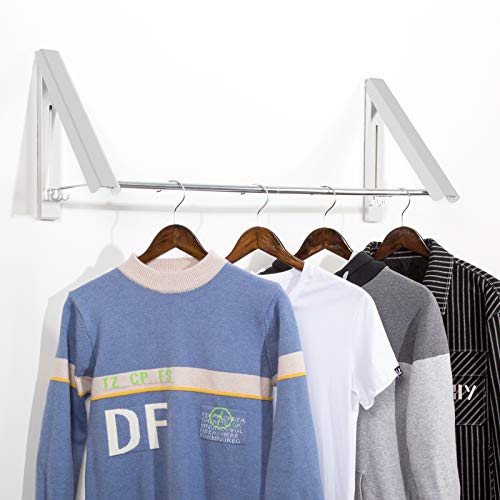 LECDDL Retractable Clothes Racks - Wall Mounted Folding Clothes Hanger,Clothes Drying Rack Used for Storage organizations Such as bathrooms Balconies wardrobes RVs etcSilver with Rod 2