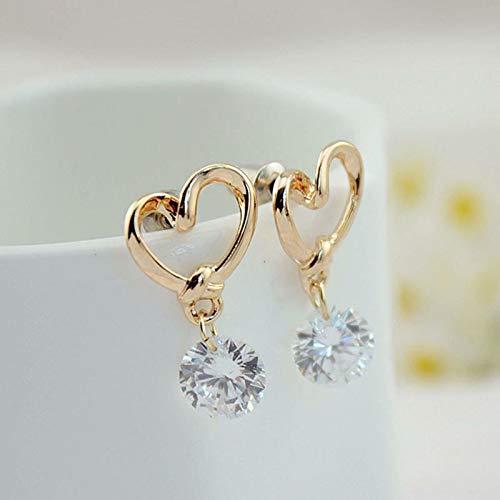 Lovely Women Gold Plated Love Heart Crystal Zircon Dangle Stud Eardrop Earrings