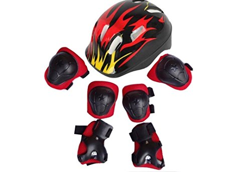 Upstore 1Set(Black+Red) 7 in 1 Sports Skateboard Protection Sets Cycling Roller Skating Helmet/Elbow Pads/Knee Pads/Wrist Pads Safety Protective Guard Gear for Kids Children(S for 2-7 years old)