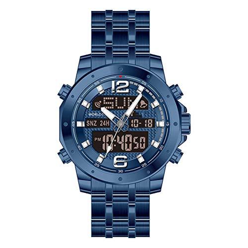 WTYU Doble Pantalla de Pulsera de Acero Inoxidable, con Calendario de Reloj Despertador, Relojes con Estilo Resistente al Agua Resistente al Agua para Hombres C