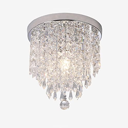 Plafoniera in cristallo, moderna finitura cromata, lampada da soffitto per interni, rotonda, con ciondolo in cristallo, per corridoio, sala da pranzo, base E14 (argento)