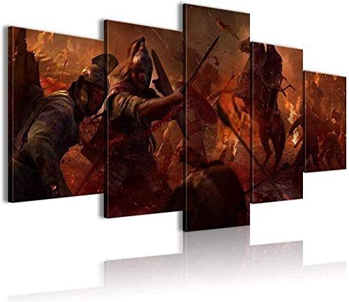 NC56 5 Pinturas consecutivas Heal The Mood Total War Attila Wallpaper 5 Pintura Conjunta Lienzo de impresión 3D HD (150x80cm Enmarcado)
