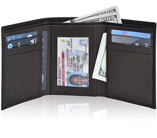 Men's Wallet Smooth Genuine Leather - RFID Blocking Front Pocket Trifold Wallet