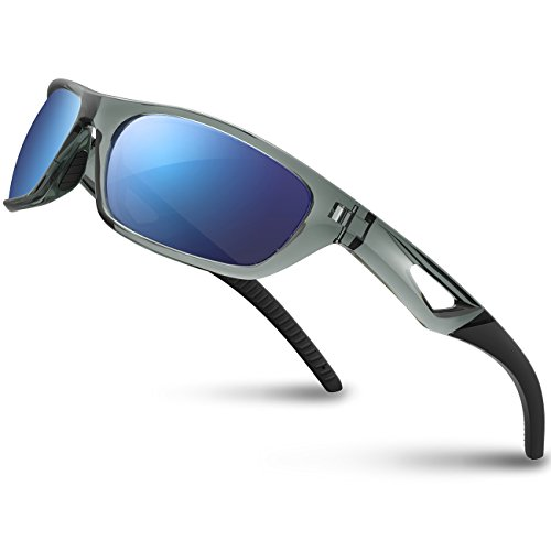 RIVBOS Polarized Sports Sunglasses Driving Glasses shades for Men Women Rb831(Transparent Grey Ice...
