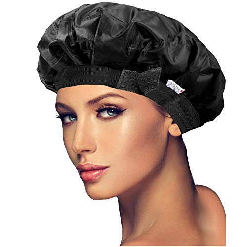 Adjustable Cordless Deep Conditioning Heat Cap. Hair Treatment and Styling Steam Cap. Hot Therapy for Thermal Head Spa. Microwavable Steamer Gel Cap. Disposable Processing Caps Included. (Black)