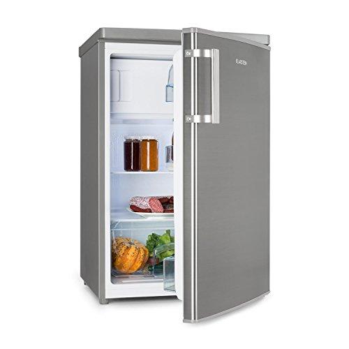 Klarstein CoolZone 120 Eco - Nevera combi, Capacidad de 103 litros nevera y 15 litros congelador, Termostato regulable, 88 cm de alto, 80 W, 3 estantes, Cajón verdura, Plateado