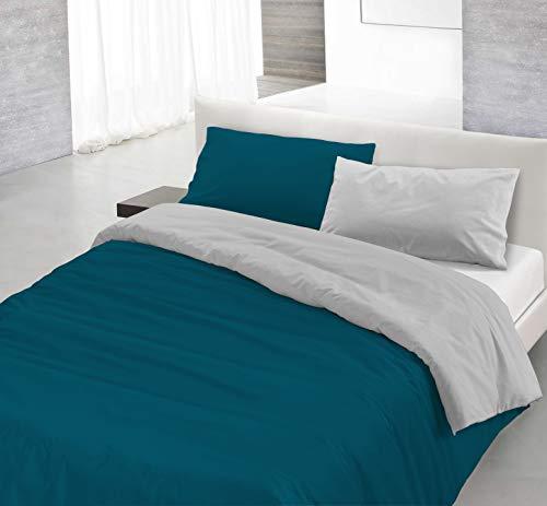 Italian Bed Linen Natural Doble Color y Funda de Almohada, Verde Petroleo/Gris Claro, 3 Unidades