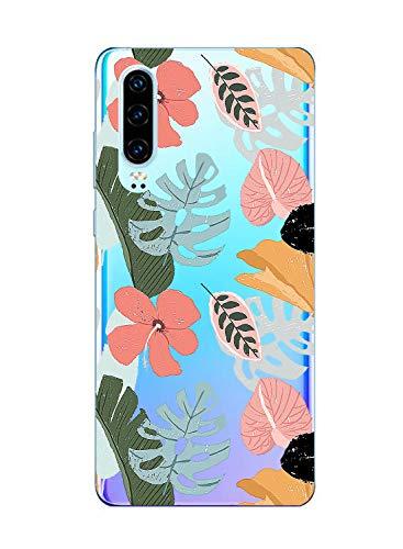 Oihxse Clair Case Compatible avec Samsung Galaxy S8 Coque en Silicone Transparent Motif Fleur Floral Feuilles Motif pour Filles Femmes Antichoc Housse Protection TPU Bumper Cover(8)