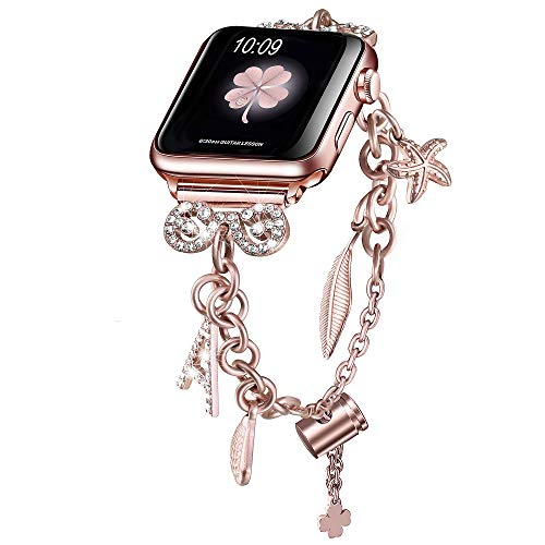Secbolt Bling Bands Compatible with Apple Watch Bands 42mm 44mm iWatch SE Series 6/5/4/3/2/1, Women's Interchangeable Charms Adjustable Bracelet in Stainless Steel, Rose Gold