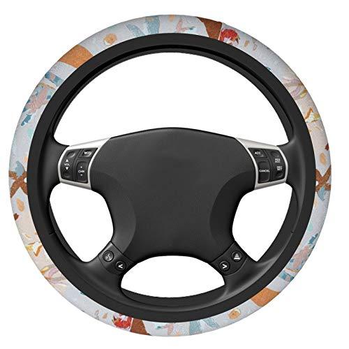 Indie-Pattern-Mobile Car Steering Wheel Cover Universal Fit Most Car Sedans,SUV, ATV, Comfort Grip Soft Comfortable Neoprene Cloth Washable, Steering Wheel Protector for Unisex (38cm / 15