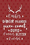 Dasher Dancer Prancer Vixen comet Cupid Sonner Blitzen Rudolph: Notebook Journal Composition Blank Lined Diary Notepad 120 Pages Paperback Red Points Santa Claus