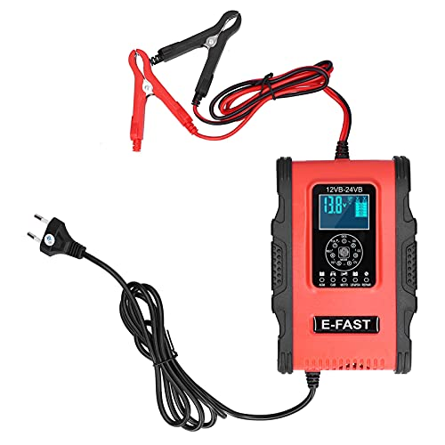DFKEA Cargador de batería Inteligente, Cargador de batería inteligente/12A/6A Reparación de Pulso de Carga de 7 etapas para Coche, Motocicleta, Barco, Rojo, Negro