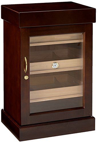 Quality Importers Trading Mini Tower, 1000 Cigar Capacity, Tempered Beveled Door, 1 Glass Hygrometer, 2 Interior A/C outlets Model HUM-1200M