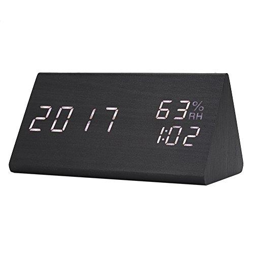 Pezakih Reloj Despertador Digital de Madera con Hora Digital LED, Reloj Despertador Digital con LED de Madera, para niños de Dormitorio de Hotel