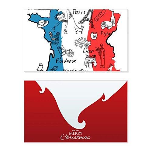 Tarjeta de Navidad con diseño de mapa de la ciudad de Francia con la bandera nacional