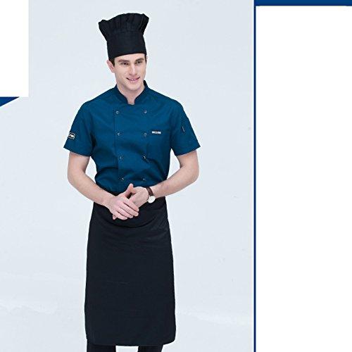 JXBoos Koch schürze,Männer-Kurzarm-Sommer-Hotel-Restaurant Berufskleidung schürze westliche küche dünnschliff atmungsaktiv schweiß Absorption koch-W XXXL