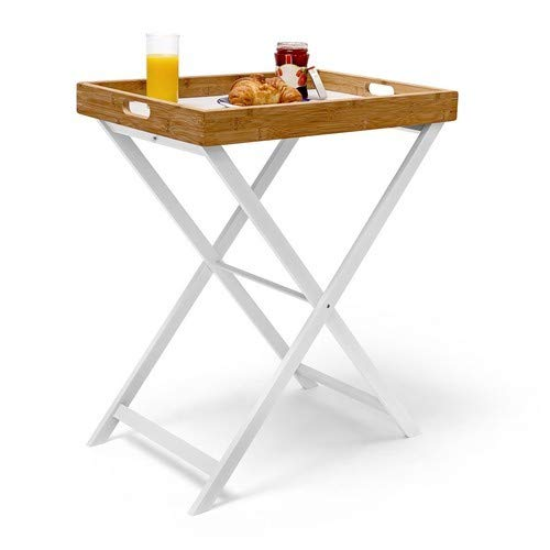 Relaxdays 10019176 Table d'appoint pliable bambou plateau amovible HxlxP: 72 x 60 x 40 cm Plateau de lit support table bout de canapé, blanc nature
