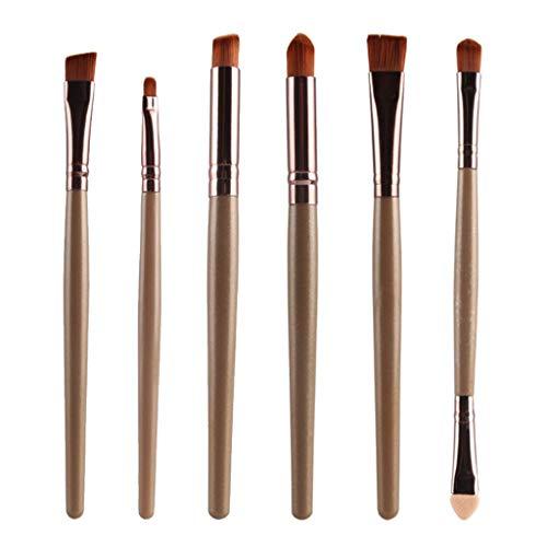 T TOOYFUL 6pièces Pinceaux Maquillage Professionnel Fond de Teint Blush Poudre Fard à Paupières Cosmétique Brosse - Café doré