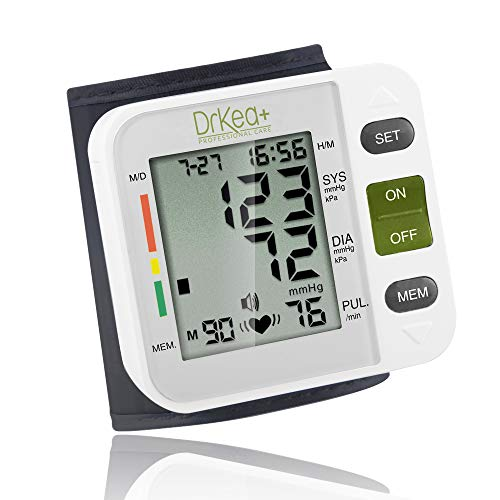Automatic Blood Pressure Cuff Monitor - Clinical High Blood Pressure Monitors by DrKea - Portable Large Screen BP Wrist Cuff Blood Pressure Kit - Irregular Heartbeat BP Monitor - FDA and CE Approved