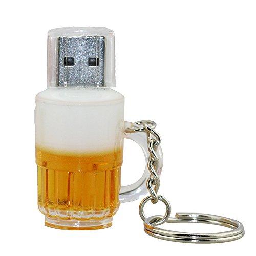 Civetman 4GB USB 2.0 Flash Drive Cartoon Botella de Cerveza Forma de la Taza con Llavero Memory Stick Pendrive