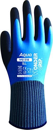 Wonder Grip WG-318 Aqua - Arbeitshandschuh, 100% Wasserdicht, Wasserabweisend, doppelter Latexbeschichtung; Anti-Rutsch für sicheres Greifen bei Nässe, Feuchtigkeit; L / 09