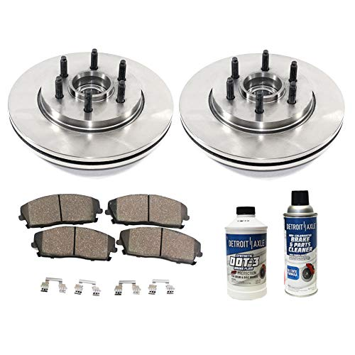 Detroit Axle - Pair (2) Front Disc Brake Kit Rotors w/Ceramic Pads w/Hardware & Brake Kit Cleaner & Fluid for 2004 2005 2006 2007 2008 Ford F-150 2WD 6 Lug - [06-08 Lincoln Mark LT]