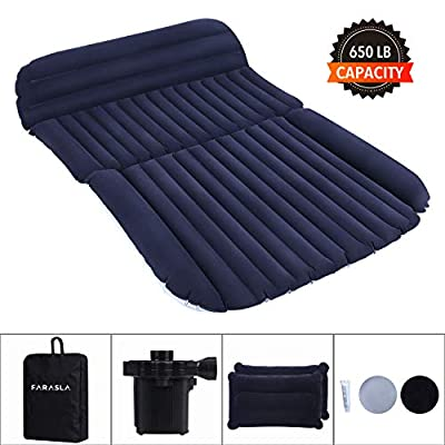 Farasla Upgraded Car Air Mattress with Extra Air Pillows, Pump, Repair Patch and Storage Bag - Camping in The Comfort of Your Own Vehicle