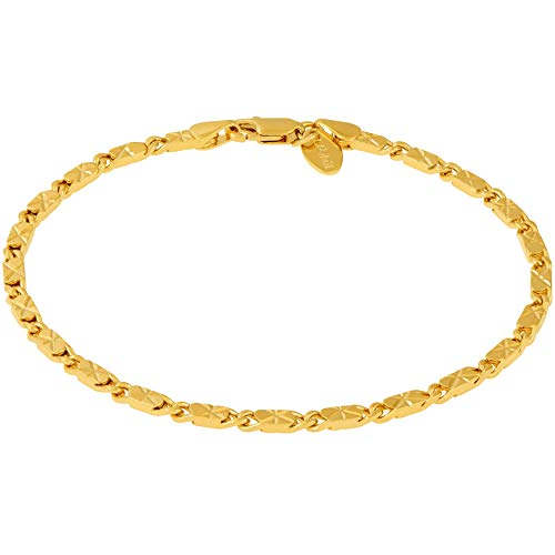 LIFETIME JEWELRY Ankle Bracelet [ 24k Gold Plated Diamond Cut Star Flat Link Chain ] Durable Anklets for Women Men & Teen Girls - Cute Foot Chains (10.0, Gold-Plated-Bronze)