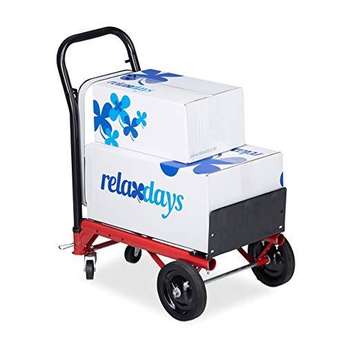 Relaxdays Sackkarre 2-in-1, Multifunktionale Schubkarre, 80 kg, Müllsackhalter, Profi, rot / schwarz