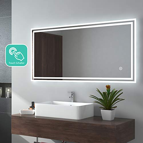EMKE LED Badspiegel 120x60cm Badezimmerspiegel mit Beleuchtung kaltweiß Lichtspiegel Wandspiegel mit Touchschalter IP44 energiesparend